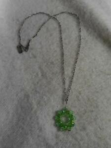 """HOLLY YASHI 925 STERLING 16"""" CHAIN NECKLACE & GREEN CRYSTAL BEAD CIRCLE PENDANT"""
