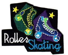 """ROLLER SKATING"" w/SKATES PATCH- Iron On Embroidered Patch-Skates, Sports, Words"
