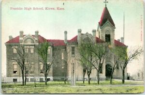 Vintage KIOWA, Kansas Postcard FRANKLIN HIGH SCHOOL Building View c1910s Unused