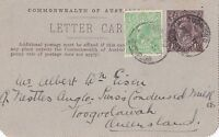 DB338) 1.5d KGV Brown card uprated with halfpenny green ACSC LC42