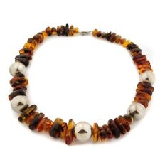 Mexican Amber Nugget Statement Necklace with Sterling Silver Beads