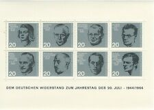 Scott 883-890 / Germany Michel Block 3: WW2 Resistance Souvenir Sheet, VF-NH
