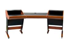 Zaor Onda | Angled Studio Workstation Desk with 2x6 RU | Cherry Finish