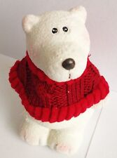 CHRISTMAS POLAR BEAR - With Red Wool Jumper & Glitter - Rapid Same Day Despatch