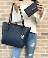 Michael Kors Kimberly Bonded Top Zip Tote Navy MK Multi + Large Trifold Wallet