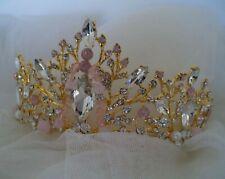Tiara pink gold beaded bridal headpiece wedding New crown