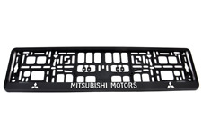 2x MITSUBISHI MOTORS 3D CHROME EFFECT NUMBER PLATE SURROUNDS HOLDER FRAME