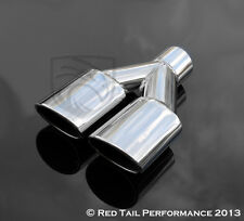 """Exhaust Muffler Dual Oval 3.5"""" OD Tip 2.25"""" Tall Angled Rolled w 2.25"""" Inlet"""