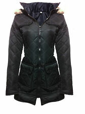 GIRLS BLACK COAT JACKET Quilted HOODED SCHOOL CLOTHING AGE 5 6 7 8 9 10 11 12 13