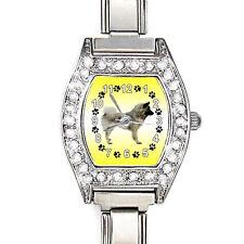 Eurasier Dog Cz Ladies Stainless Steel Italian Charm Bracelet Wrist Watch Bj1010