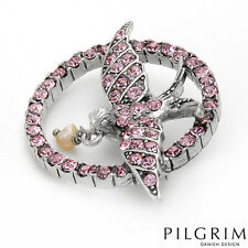 NWT PILGRIM SKANDERBORG, DENMARK Pink Crystal Pearl Silver-Tone Bird Brooch Pin