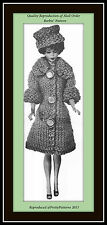 Barbie® Fitted COAT and PILL BOX HAT Knitting Craft Doll Clothing Retro 60s VTG