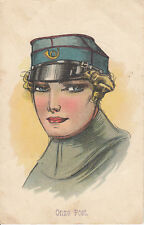 E55. Vintage Dutch Postcard. Our Post. Girl in postal uniform? Onze Post.