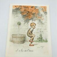 Georges Redon Hand Colored Lithograph Il A Bu De L'eau Naughties