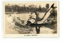 VTG Exaggerated Fish Essex Ontario Real Picture Postcard RPPC Canada Boat Lake