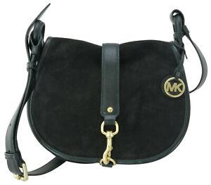 Michael Kors Jamie Shoulder Saddle Bag Black Suede Handbag Size Medium RRP £310