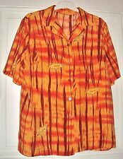 Damen Bluse Kurzarm C&A Gr. 44 orange gestreift Herbst Blätter