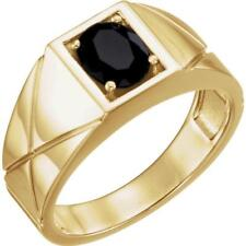 14k Yellow Gold Onyx Solitaire Men's Ring Size 11