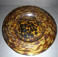 Vintage Tortoise Shell Leopard Print Glass Platter Unsigned High Quality