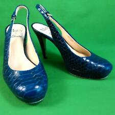 "CLARKS MARY PORTAS 4"" Heel Shoes Size 4.5 Blue Leather Snakeskin Womens Ladies"