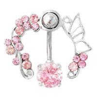 Women Rhinestone Bar Belly Button Navel Ring Anti-Allergy Body Piercing Jewelry