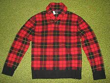 Polo-ralph Lauren (xl) tela escocesa de Tartán lana chal cuello Jersey