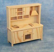 Bare Wood Kitchen Set 12th Scale for Dolls House - Can be Stained or Painted etc