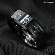 Black and blue Carbon Fiber Tungsten Ring Blue Diamond ATOP Men's Wedding Band