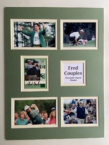 """Golf Fred Couples Signed 16"""" X 12"""" Double Mounted Display"""