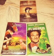 Lot of 3 Walt Disney VHS Tapes- FREE WILLY,BABE,ROBIN WILLIAMS FLUBBER