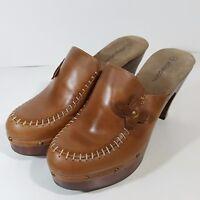 Xhilaration Size 8M Womens Brown Leather Clogs Mules Platform Shoes Flowers