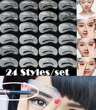 24pc Eyebrow Stencil Grooming Shaping Card Kit Template Makeup Resuable DIY Tool