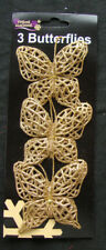 3 x Gold Butterfly Tie | Clip on Pick Decorations 8cm Christmas CHEAP CLEARANCE