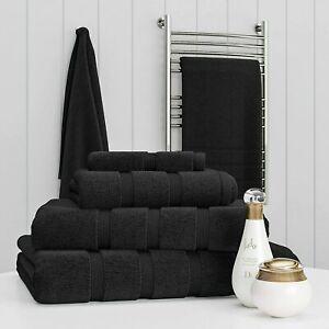 Towel Set Black 100% Egyptian Cotton Towel Bale 550 GSM Bathroom 6 & 8 Piece Set