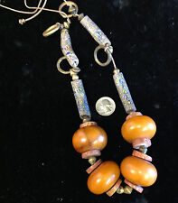 Baltic  Amber and Venetian Glass Bead Necklace with Brass Trim