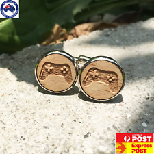 Wood Game Controller Gamer Cufflinks Men's Fashion - AUS STOCK READY 4 DELIVERY