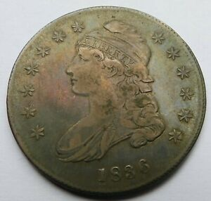 1836 Capped Bust Silver Half Dollar - XF, Early Halve 50C