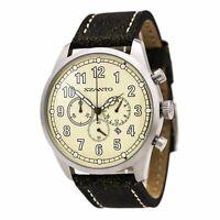 Szanto Men's Watch 2000 Series Vintage Inspired Chrono Beige Dial Strap 2002