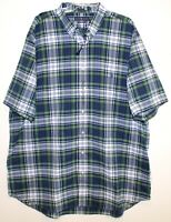 Polo Ralph Lauren Big Tall Mens Green Blue Plaid S/S Button-Front Shirt NWT XLT
