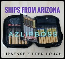 LIPSENSE BLACK VINYL ZIPPERED COSMETIC PLASTIC MAKE-UP BAG POUCH STORAGE CASE