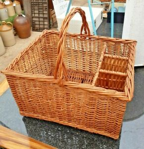 Vintage Wicker Picnic Basket with 3 Wine Bottle Sections