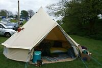 4M Waterproof Outdoor Canvas Bell Tent Yurt Glamping Camping Family  Stove Jack