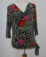 Mirasol, Medium, Black Multi Floral Print Knit Top