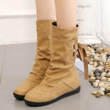 Women Winter Snow Boots Mid-Calf Solid Flats Warm Plush Boots Ladies PU Boots LG