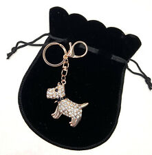 Rose Gold Crystal Dog Puppy Keying with Gift Bag Ladies Gift Christmas Present