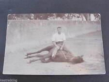 WW2 Gunner Harvey & horse in Riding School Lucknow RPPC Postcard