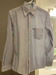 BROOKS BROTHERS Button Down White With Blue Stripes Dress Shirt