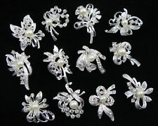 Wholesale 12x Pearl Crystal Rhinestone Brooch Pins Wedding Bridal Bouquet Decor