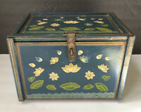 Big ASIAN Antique Painted Footed TEA CADDY 4 Drawers Inside Mirror Lotus Flower