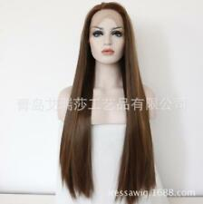 "24"" Synthetic Hair Medium Brown Lace Front Wig Heat Resistant Long Straight"